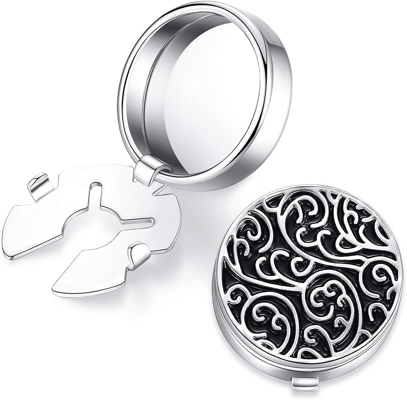 HONEY BEAR Cubre Botones Gemelos tallados con patrón Retro de para Camisas de Hombres, Acero Inoxidable para Regalo de Bodas, Plata con Negro