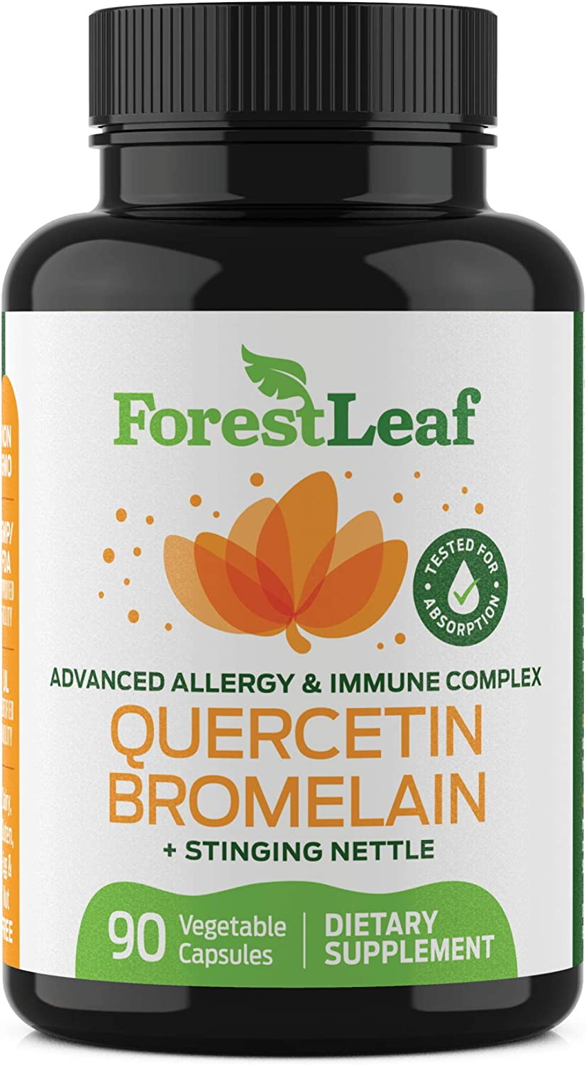 Advanced Sinus and Allergy Supplement – Quercetin Bromelain with Stinging Nettle and Vitamin C – 90 Natural Vegetable Capsules – Non GMO, Dairy, Gluten, Egg and Nut Free - by ForestLeaf: Health & Personal Care