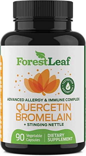 Quercetin 500mg with Bromelain, Vitamin C and Stinging Nettle – Advanced Sinus and Allergy Supplement – 90 Natural Vegetable Capsules – Non GMO, Dairy, Gluten, Egg and Nut Free - by ForestLeaf