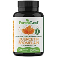Advanced Sinus and Allergy Supplement – Quercetin Bromelain with Stinging Nettle and Vitamin C – 90 Natural Vegetable Capsules – Non GMO, Dairy, Gluten, Egg and Nut Free - by ForestLeaf