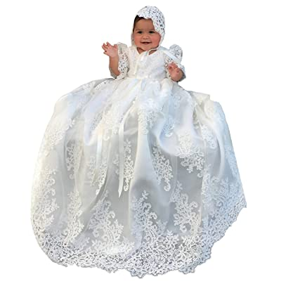 LL Bridal Hot Toddler Baby Baptism Christening Gown Crystal First Communion Dresses Bonnet FB0025