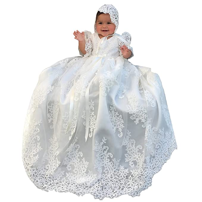 Portsvy Lovely White Lace Girls Long Christening Baptism Gowns ...