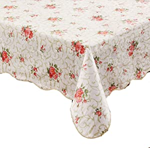 """Artisan Flair AF60104-094 Red Flower Flannel Backed Vinyl Tablecloth Waterproof Oblong(Rectangle)-60"""" x 104"""""""