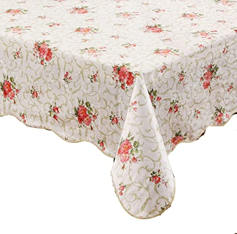 Ennas Cz094 Flannel Backed Vinyl Tablecloth Waterproof Square (58 Inch By  58 Inch