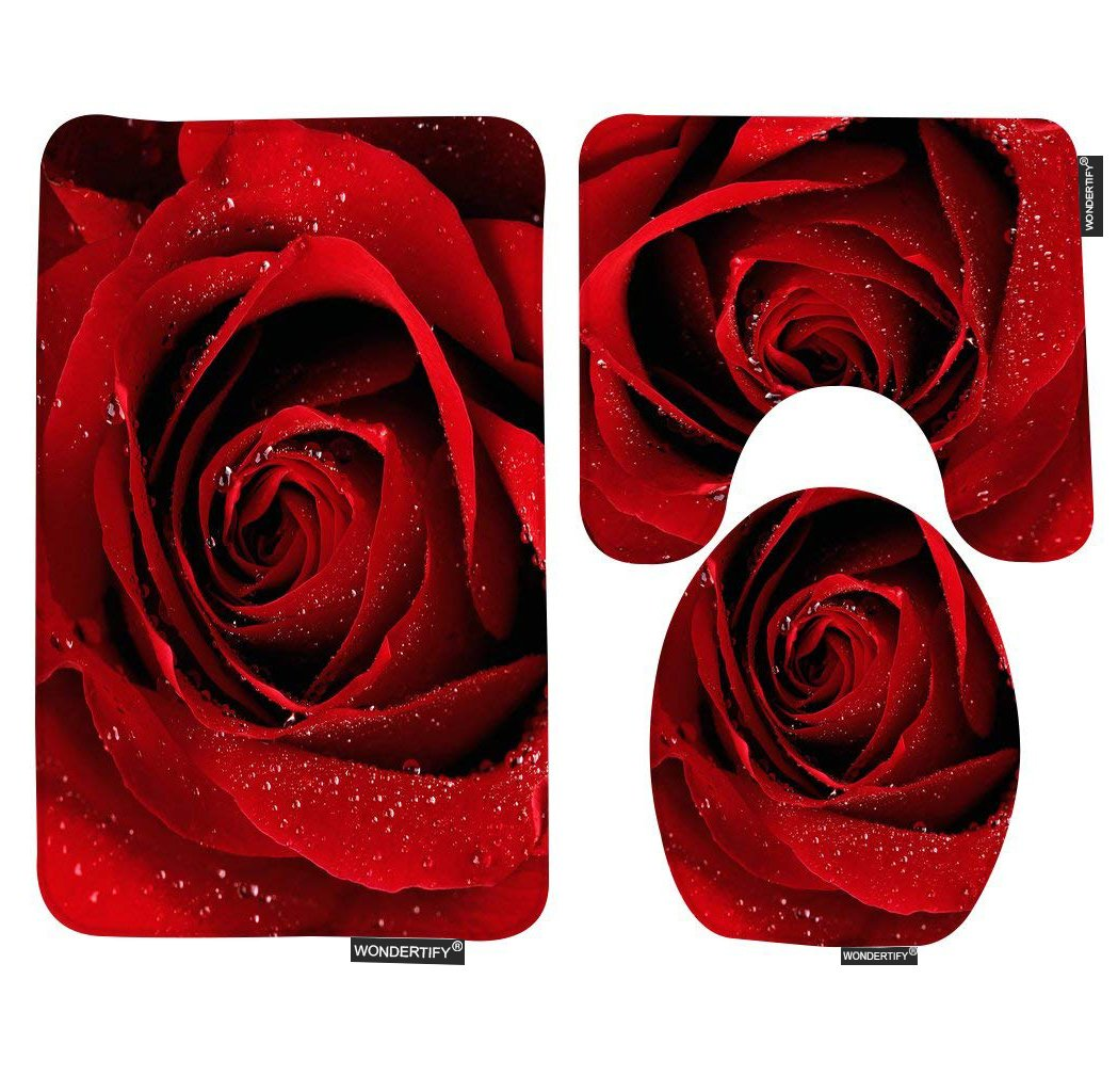 77ecc3cdbc36 WONDERTIFY Bath Mat,Rose,Red Rose with Water Droplets Bathroom Carpet  Rug,Non-Slip 3 Piece Bathroom Mat Set