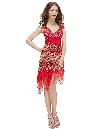 Amazon.com: Ever Pretty Vogue Lace Sequined V-neck Chic Cocktail ...