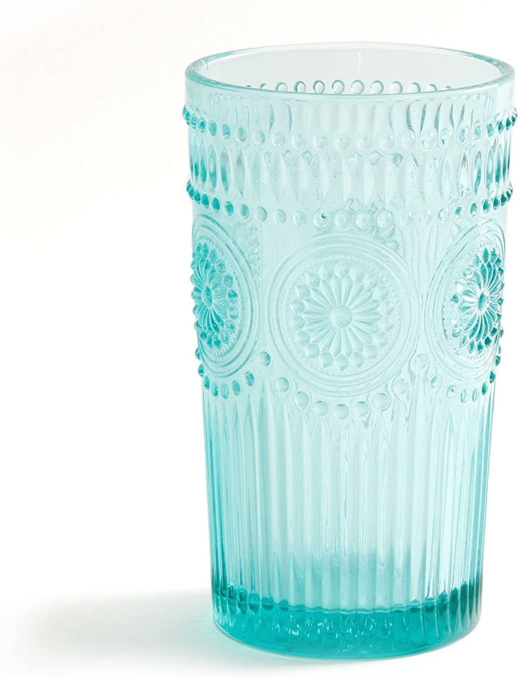 The Pioneer Woman Adeline 16-Ounce Emboss Glass Tumblers Clear Set of 4