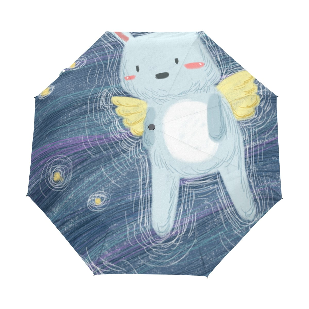 Senya Saobao自動開いて閉じFoldingウサギブルー背景で防風と防雨トラベル傘ポータブル折りたたみ式太陽雨傘 B07FFT6M19