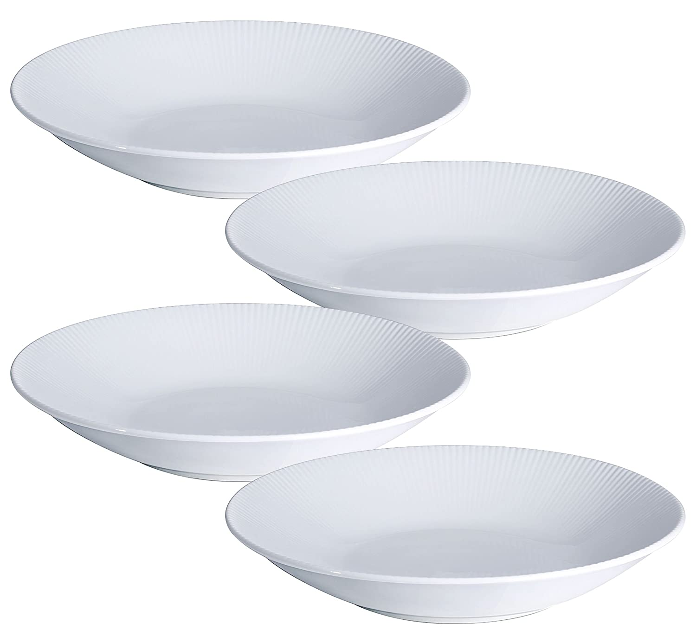 YHY 9.6-inch/30OZ Porcelain Serving Bowls, White Pasta/Salad Bowls Set, Wide & Shallow, Set of 4 - Stripe Pattern