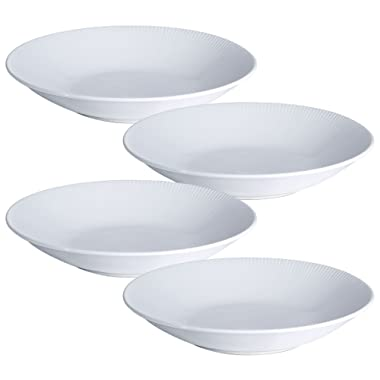 Y YHY 9.6-inch/30OZ Porcelain Serving Bowls, White Pasta/Salad Bowls Set, Wide & Shallow, Set of 4 - Stripe Pattern