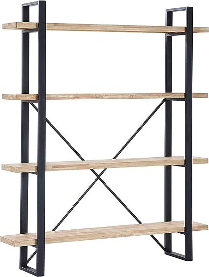 Plank, Estanteria Alta con 4 Estantes, Acabado en Roble Salvaje y Estructura Metalica Color Negro, Medidas: 150 cm (Ancho) x 180 cm (Alto) x 35 cm ...