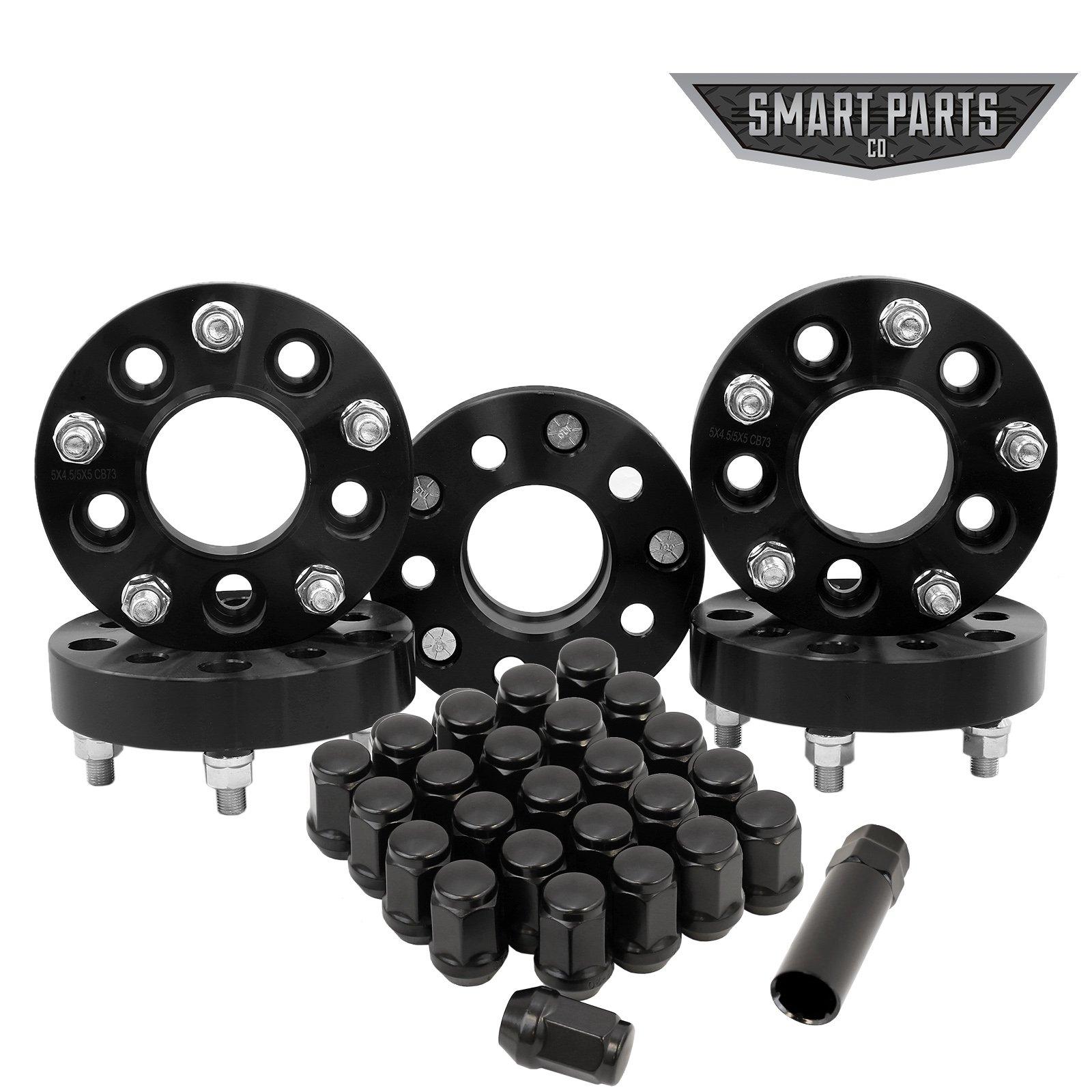 5 Jeep Wheel Adapters 5x4.5 to 5x5 1.25'' (32mm) - Adapts Jk Wheels on Tj Yj Kk Sj Xj Mj (Set of 5) + 25 Chrome Acorn Lug Nuts by Smart Parts (Image #1)