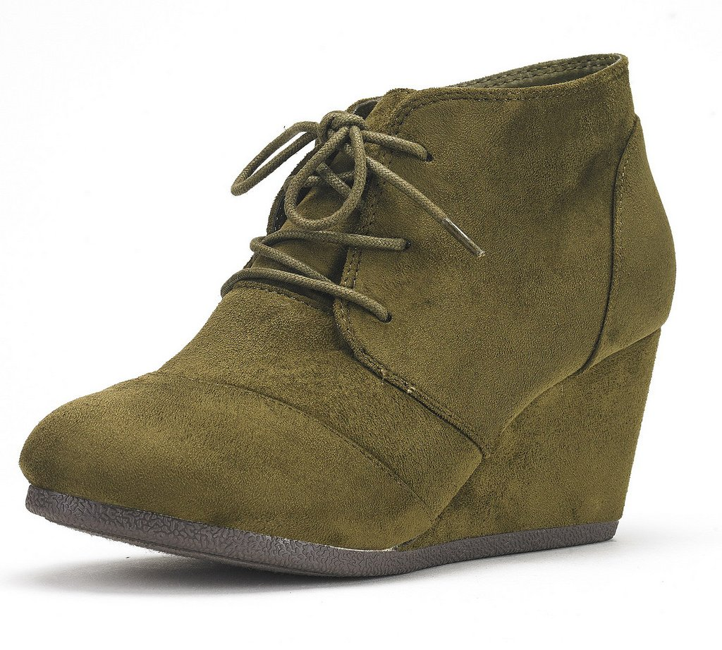 DREAM PAIRS TOMSON Women's Casual Fashion Outdoor Lace Up Low Wedge Heel Booties Shoes   army Green 10 B(M) US