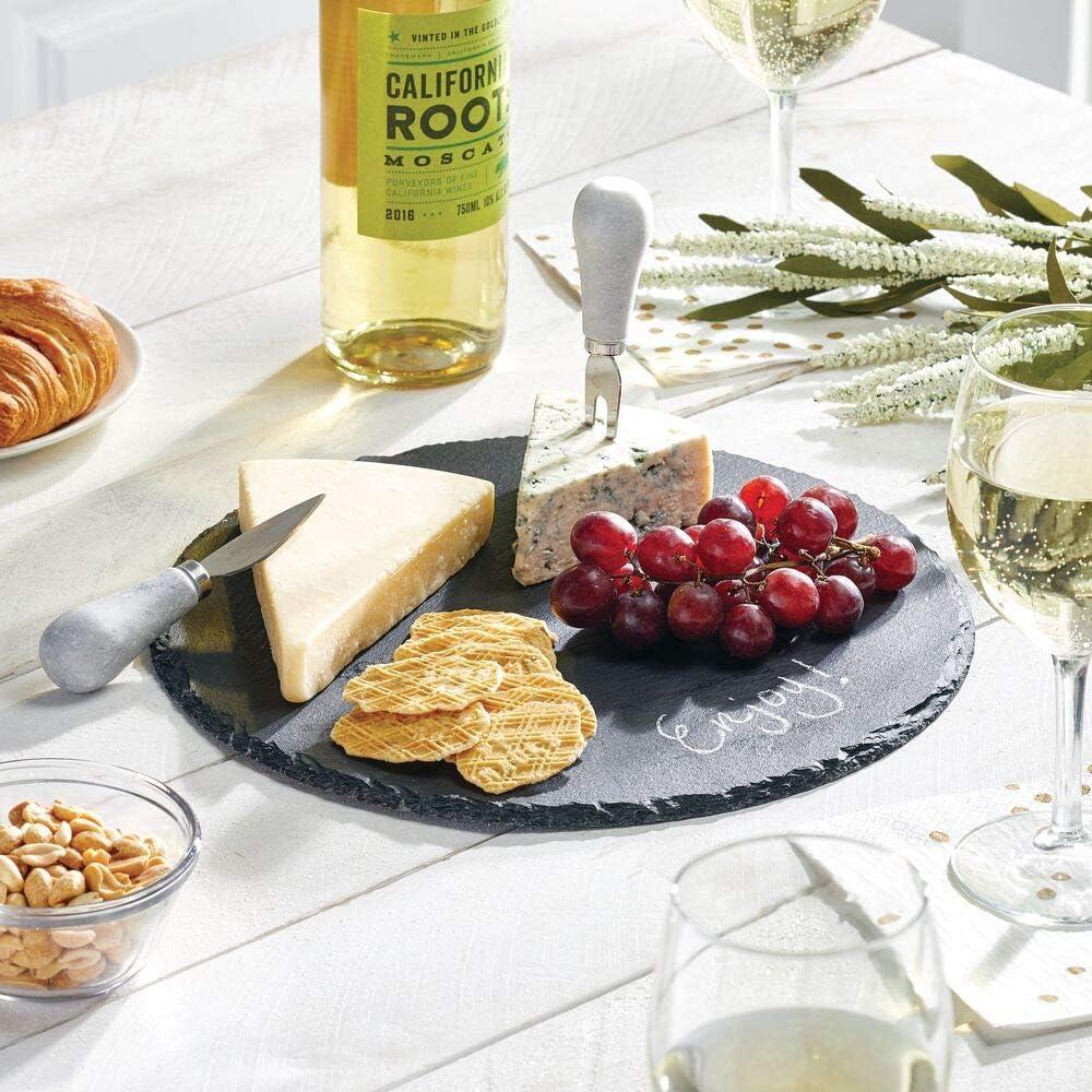 mDesign Round Slate Stone Gourmet Serving Platter