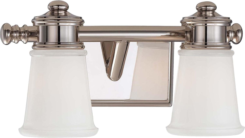 Minka Lavery Wall Light Fixtures 4532-613 Bath Art Glass Bath Vanity Lighting, 2 Light, Polished Nickel