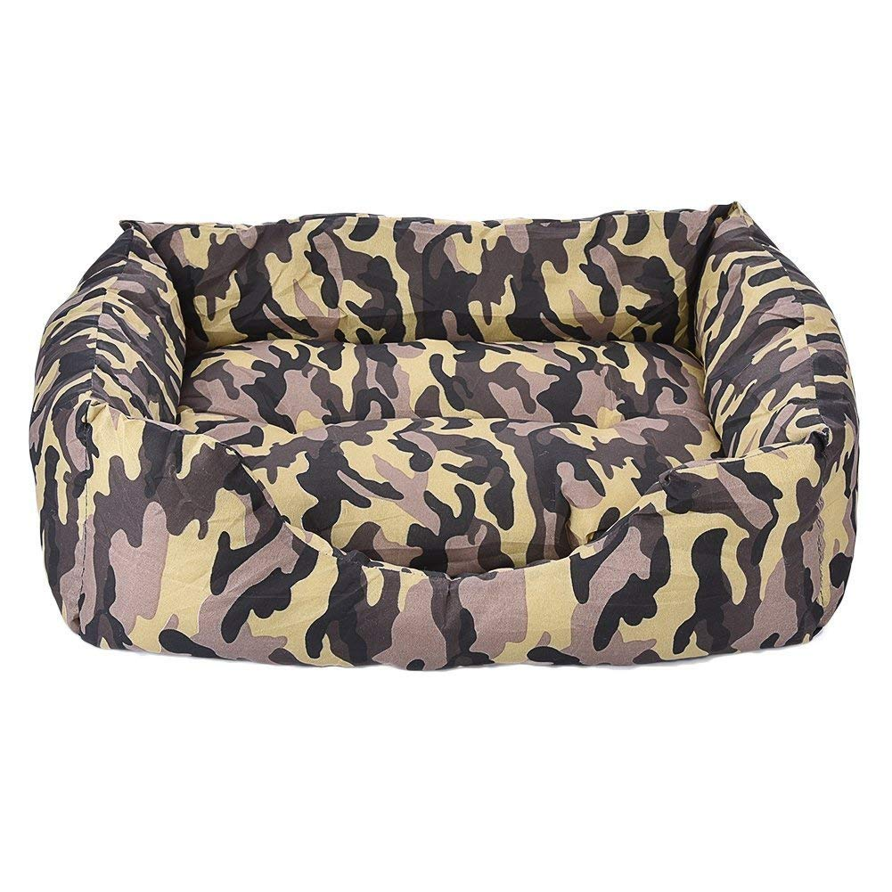 ANDRE HOME Dog Bed Cat Cave Lounge with Removable Bed Mat Camouflage Pet Beds Nests Universal Yellow M 49  41  15cm Pet Bed Blanket