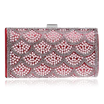 d2a8c21493 KYS Women Beaded Evening Bags Messenger Metal Day Clutches Purse Chain Shoulder  Small Day Clutches Evening