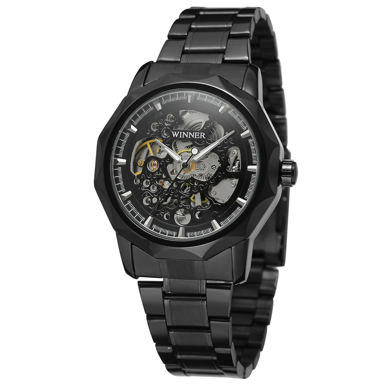 FORSININGメンズスケルトンスチームパンク自動Militaryステンレススチールブレスレット腕時計wrg8033 m4b1 B072L83NC9