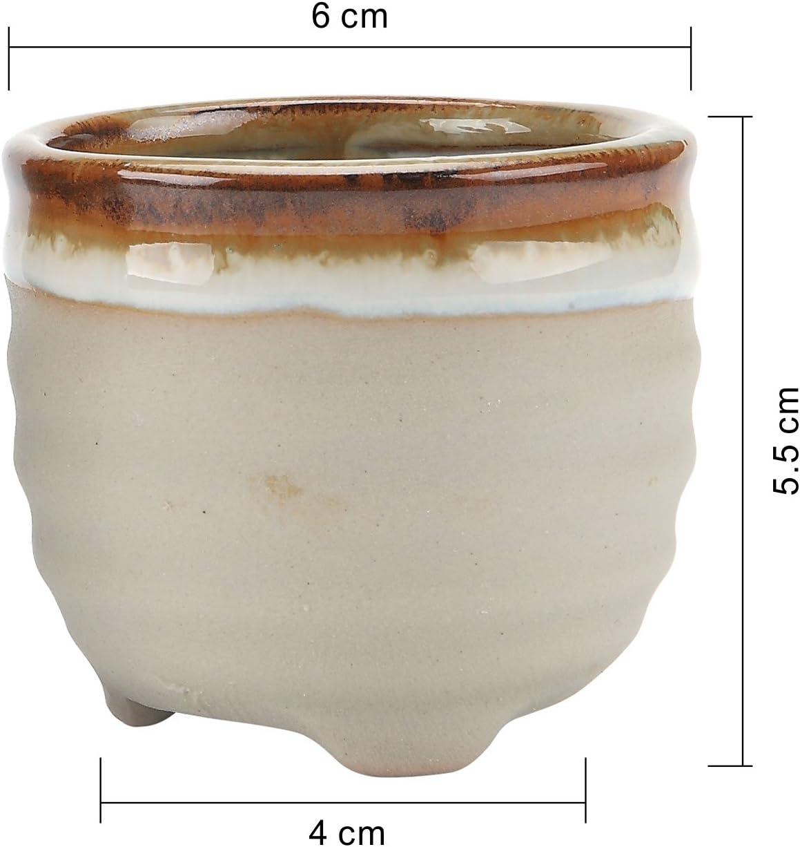 T4U 2.25 Inch Ceramic Flowing Glaze Solid Gray Base Serial Ring Form Shape Succulent Plant Pot Cactus Plant Pot Flower Pot Container Planter