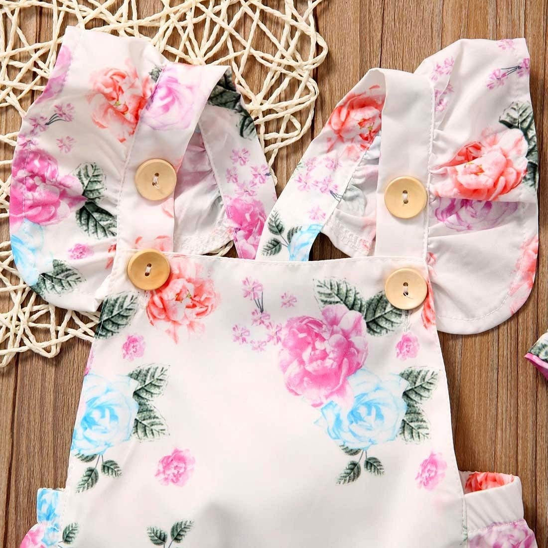 Oklady Newborn Baby Girls Clothes Outfits Floral Jumpsuit Romper Playsuit Headband Set