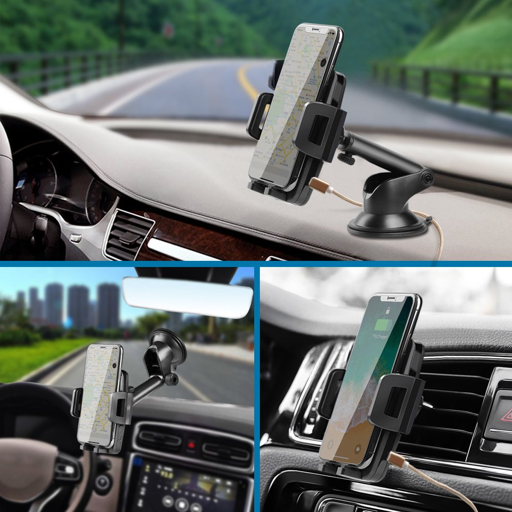 CLEEBOURG Pad di Ricarica Rapida Qi Wireless caricabatteria da Auto Gravity Air Vent Mount Phone Holder per iPhone 8//8 Plus//x Ricarica Rapida Ricarica Standard per Samsung Galaxy S8 Plus S7 S7 Edge