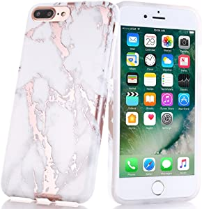 BAISRKE Shiny Rose Gold Marble Design Clear Bumper Matte TPU Soft Rubber Silicone Cover Phone Case Compatible with iPhone 7 Plus iPhone 8 Plus White