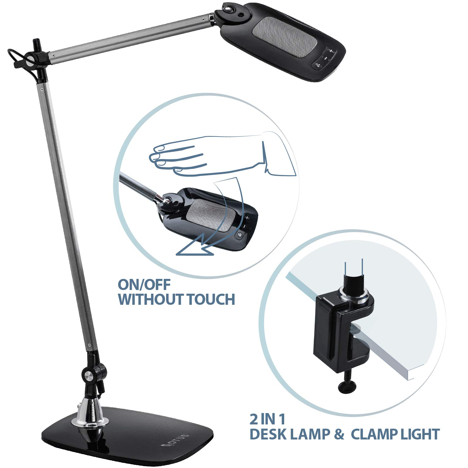 OTUS Architect Desk Lamp Office with Clamp - Gesture Control - Swing Arm Drafting LED Table Light - Dimmable 12 Brightness 3 Color Levels - Touch Control - Memory Function - 10W by OTUS