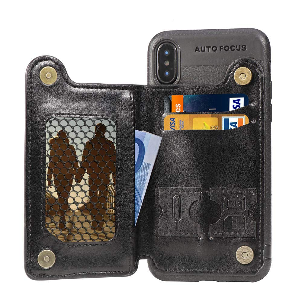 iPhone Xs Case,iPhone X Case,DAMONDY Premium PU Leather Wallet Purse Card Holders Design Kickstand Cover Double Magnetic Clasp Durable Shockproof Soft Bumper Case for iPhone Xs 5.8 Inch-Black by DAMONDY