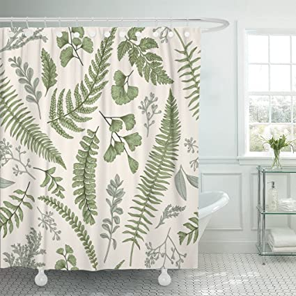 Emvency Shower Curtain Floral In Vintage Style Leaves And Herbs Botanical Boxwood Seeded Eucalyptus Fern Maidenhair