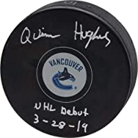 "$55 » Quinn Hughes Vancouver Canucks Autographed Hockey Puck with""NHL Debut 3-28-19"" Inscription - Fanatics Authentic Certified"