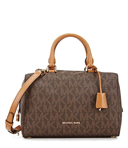 bacd92b74e1602 MICHAEL KORS Kirby Medium Logo Printed Satchel Brown: Handbags: Amazon.com