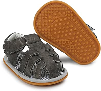 ACAREU Baby Sandals, Infant Boys Girls Rubber Sole Non-Slip Prewalker Shoes Grey