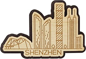 Printtoo Wooden Engraved Souvenir Shenzhen City Of China Custom Fridge Magnet Gift
