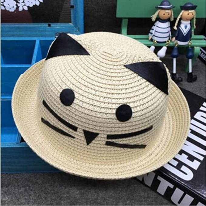 UKCREATIVE Sombrero de paja de ala ancha niño lindo sombrero de paja ...
