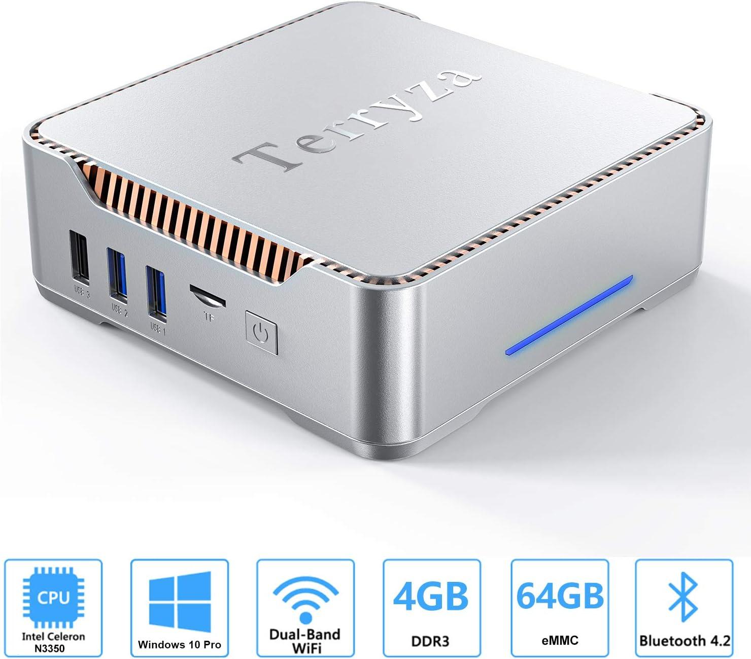 AK3 Mini PC with Intel Celeron N3350 & Windows 10 Pro, 4GB DDR3/ 64GB eMMC Desktop Computer,2.4G/5G Dual WiFi, 4K HD, HDMI/VGA Ports