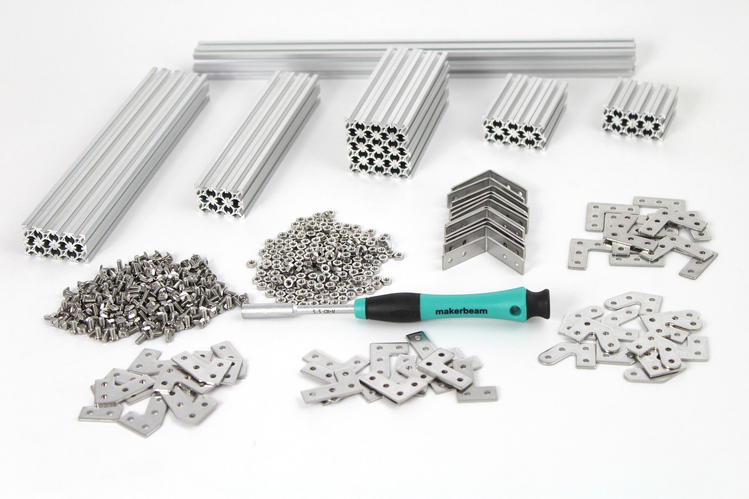 MakerBeam Regular Starter Kit Clear anodized including beams, brackets, nuts and bolts