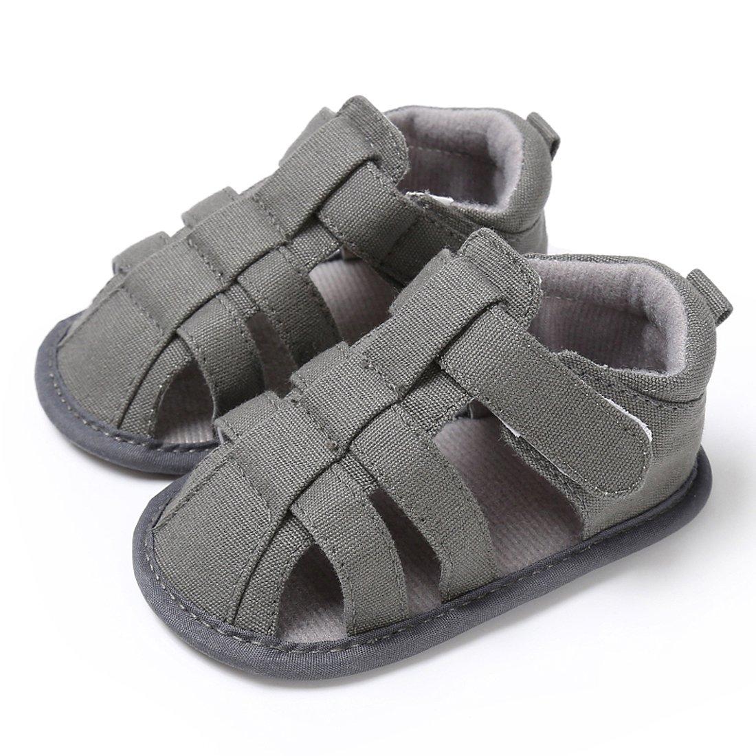 Kimber ❤️ Baby Boys Girls Sandals Anti-Slip First Walker Summer Shoes (12cm/4.72''-6-12 Months, B-Grey)