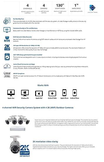LOREX Sistema de cámara de Seguridad IP 2K con 4 Canales NVR ...