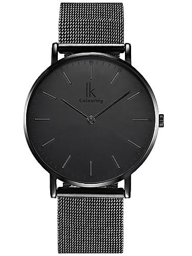 Alienwork Quarz Armbanduhr Zeitloses Design Uhr Herren Uhren modisch Ultra-flach Metall schwarz U049...