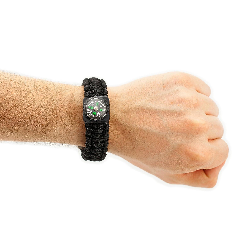Paracord Universal Armband schwarz mit Flaschen/öffner Feuerstarter Paracord-Armband Marke PRECORN