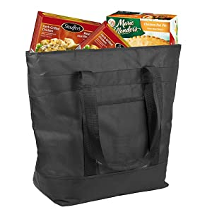 Insulated Grocery Bag By Lebogner - X-Large 10 Gallon Capacity Vacation Cooler Bag For Hot Or Cold Food While Traveling, Collapsible Travel Or Shopping Carry Basket, Outdoor Picnic Bag For Camping