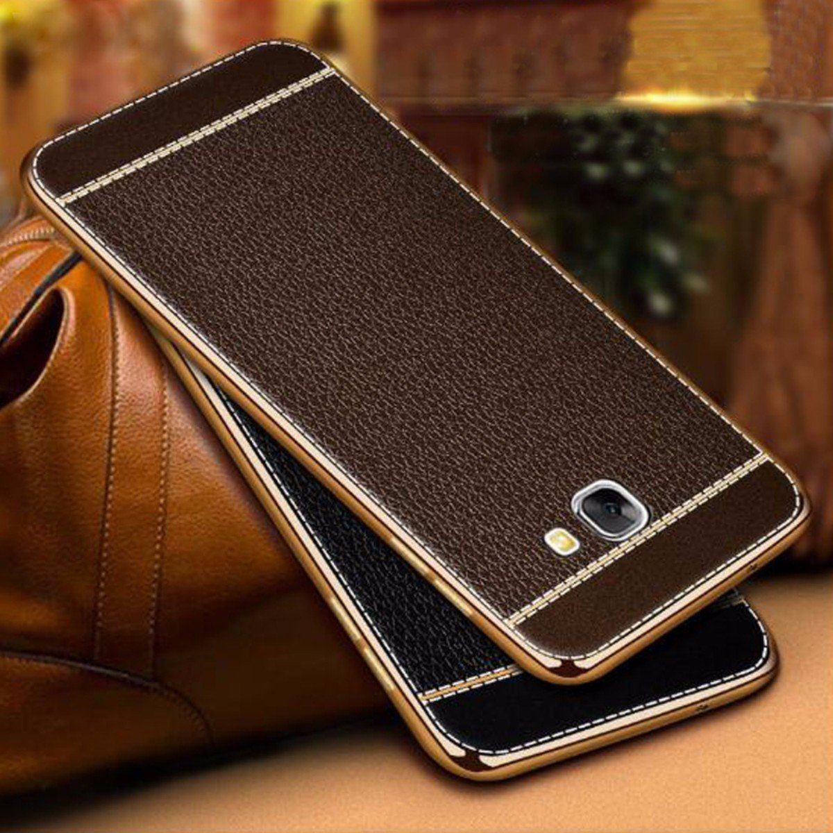 Norby Electroplated Gold Side Chrome with Leather Looks Soft Case Ultra  Thin Back Cover Case for Samsung Galaxy J7 Prime (Brown)