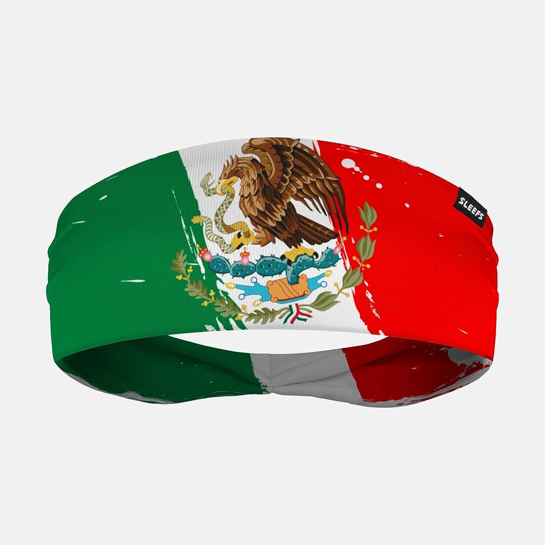 メキシコSleefs Brushed国旗ヘッドバンド B07CJ7QWGHグリーン/レッド One Size
