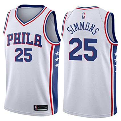 8421dfaaeb4 Jordan Men's 2017-18 Philadelphia 76ers #25 Ben Simmons Association White  NBA Swingman Jersey