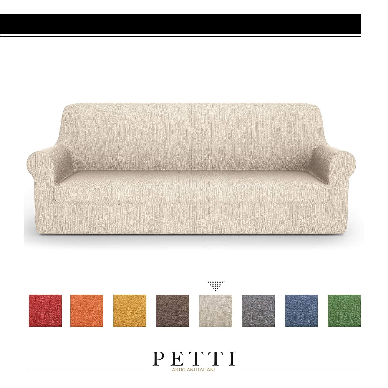 PETTI Artigiani Italiani – Fundas Sofa, Fundas de Sofa, Funda Sofa 3 Plazas, Crema, Fundas Sofa Elasticas, Tejido Jacquard, 100% Made in Italy