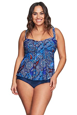 d7573f44636db Image Unavailable. Image not available for. Color: Mazu Swim Plus Size  Drape Bandeau Tankini Swimsuit Top in Florence ...