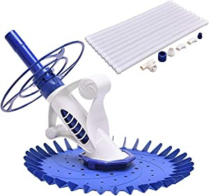 """Goplus Automatic Swimming Pool Cleaner Set with 32'6"""" Hoses Climb Wall Pool Sweeper for In-ground"""