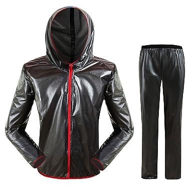 494c7b5bc6 SUKUTU Mens Outdoor Lightweight Riding Waterproof Reflective Raincoat Rain  Jacket and Trousers Bicycle Raincoat Suits (