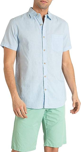 MO Camisa Hombre Rustica de Manga Corta - Azul Claro y Blanco: Amazon.es: Ropa y accesorios