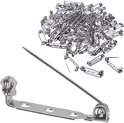 100pcs Safety Bar Pins Jewelry Findings for Wedding Corsage Brooch Back 25mm